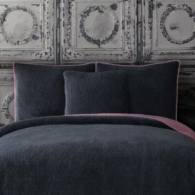 Solid Velvet Standard Sham Color: Gray Dusk/Blush Pink
