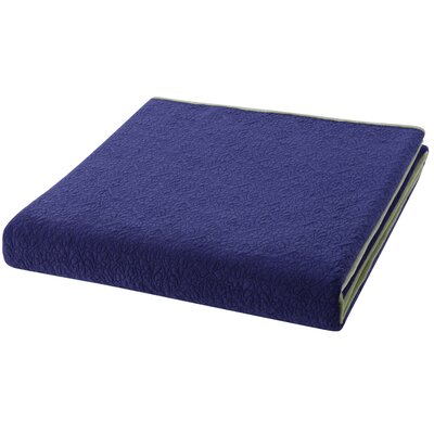 Solid Velvet Coverlet Size: Twin XL, Color: Deep Blue/Sea Mist Green