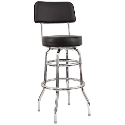 29 Swivel Bar Stool Base Finish: Chrome, Upholstery: Black
