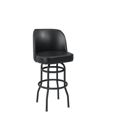 30 Swivel Bar Stool Base Finish: Black, Upholstery: Black