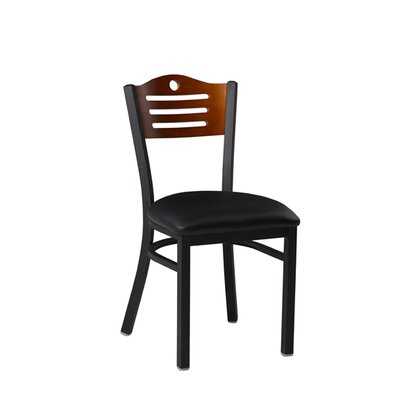Side Chair Upholstery: Black, Finish: Cherry