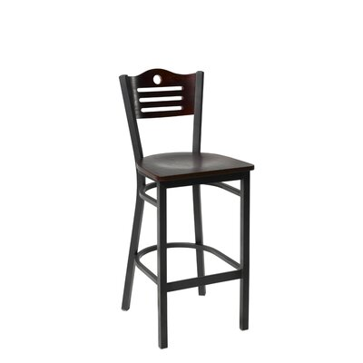 30.5 Bar Stool Finish: Mahogany, Upholstery: Hunter Green