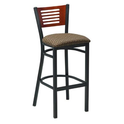 30.5 inch Bar Stool Upholstery: Black, Finish: Mahogany