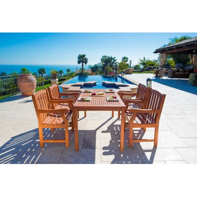 Outdoor Wood English Garden 5 Piece Dining Set