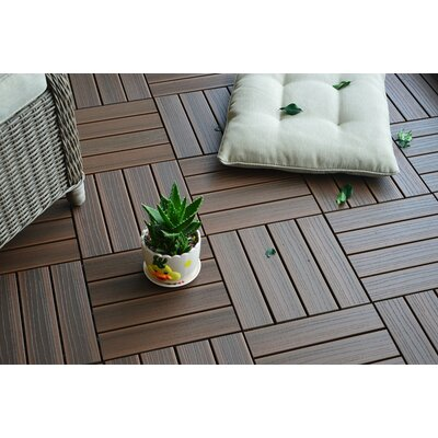 Composite Walnut 12 x 12 Interlocking Deck Tiles