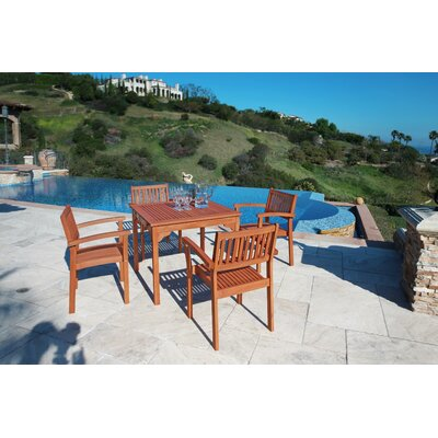 5 Piece Outdoor Wood Dining Set