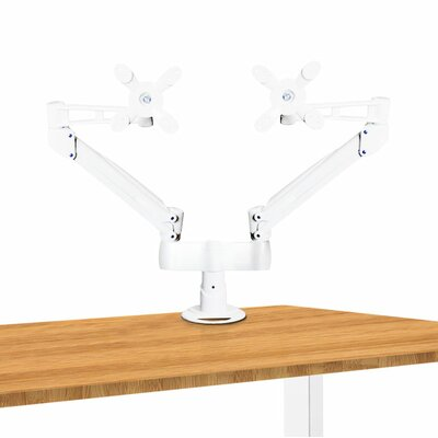 Dual Height Adjustable 2 Screen Desk Mount Finish: White