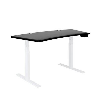 SmartDesk - Wave Wood Top - White Finish: Black, Size: 53 L x 32 W