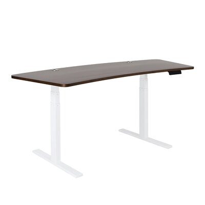SmartDesk - Wave Wood Top - White Finish: Walnut, Size: 71 L x 32 W