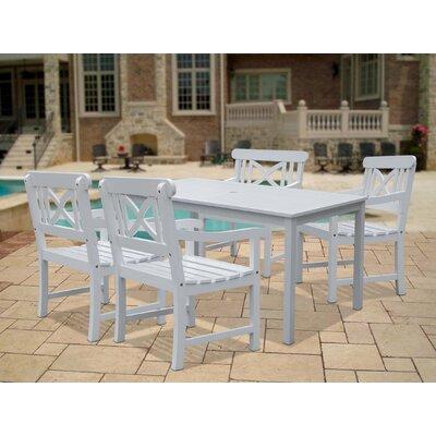 Vifah Bradley Acacia Rectangular Extension Table & Armchair Outdoor 5 Piece Dining Set