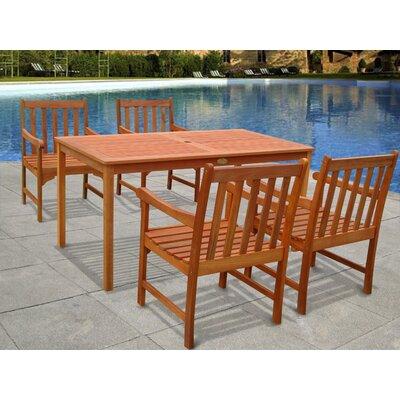 Outdoor Wood English Garden 5-Piece Dining Set