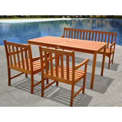 Outdoor Wood English Garden 4-Piece Dining Set