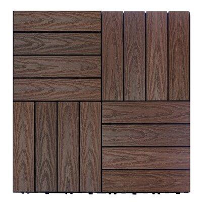 Naturale Composite 12 x 12 Interlocking Deck Tiles in California Redwood