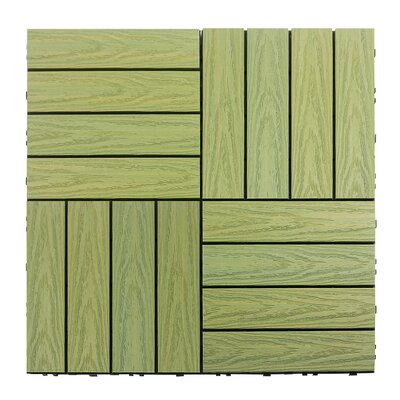 Naturale Composite 12 x 12 Interlocking Deck Tiles in Irish Green