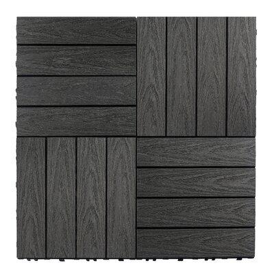 Naturale Composite 12 x 12 Interlocking Deck Tiles in Hawaiian Charcoal
