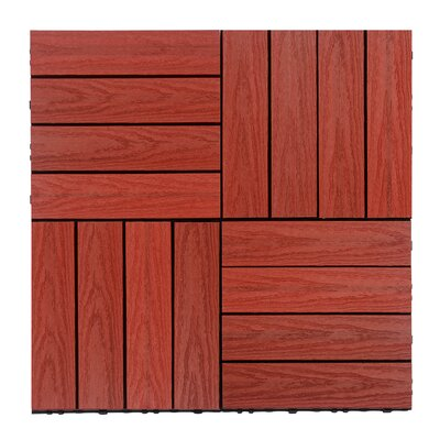 Naturale Composite 12 x 12 Interlocking Deck Tiles in Swedish Red