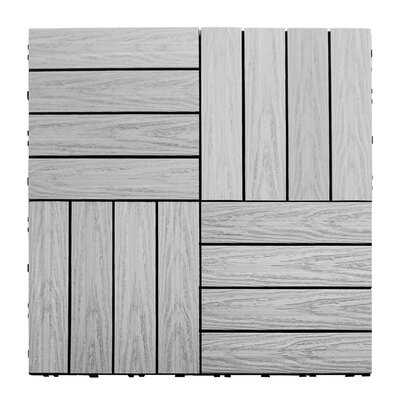Naturale Composite 12 x 12 Interlocking Deck Tiles in Icelandic Smoke White