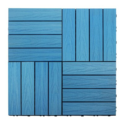 Naturale Composite 12 x 12 Interlocking Deck Tiles in Caribbean Blue