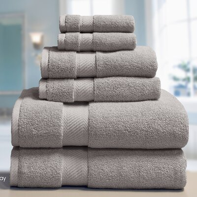 Low Twist Weave 6 Piece Towel Set Color: Gray