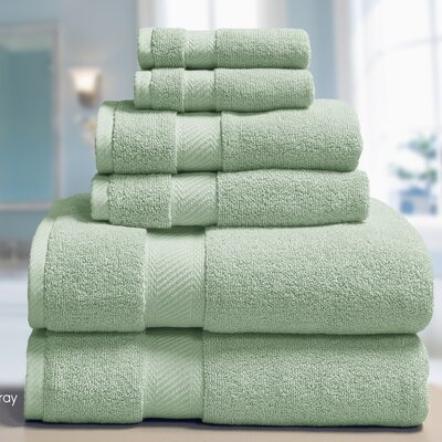 Low Twist Weave 6 Piece Towel Set Color: Harbor Gray