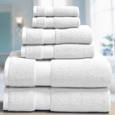 Low Twist Weave 6 Piece Towel Set Color: White