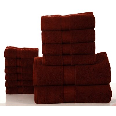 Elegance Spa 12 Piece Towel Set Color: Biking Red