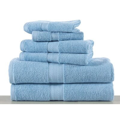 Woolf 6 Piece Towel Set Color: Blue