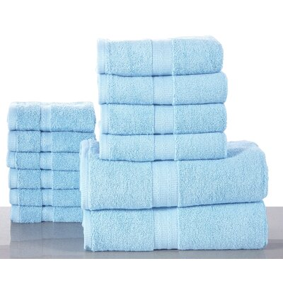 Woolf 12 Piece Towel Set Color: Blue
