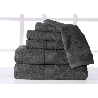 Plush 6 Piece Towel Set Color: Grey
