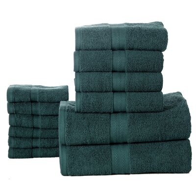 Woolf 12 Piece Towel Set Color: Teal Green