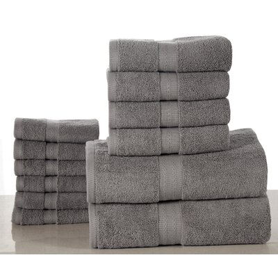Bano Senses 600 GSM Egyptian Quality Cotton 12 Piece Towel Set Color: Platinum