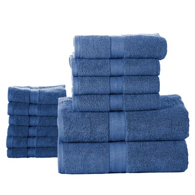 Woolf 12 Piece Towel Set Color: Denim