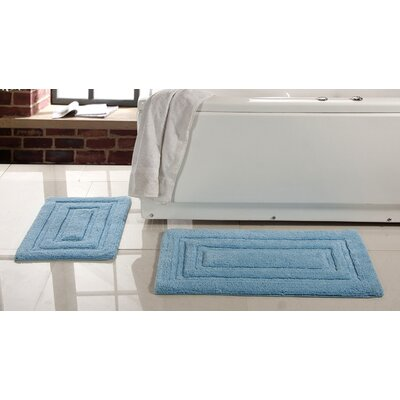 Lucinda 2 Piece Soft Cotton Bath Rug Set Color: Aqua Blue