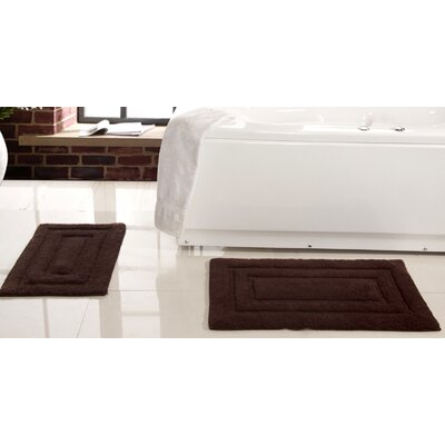 Lucinda 2 Piece Soft Cotton Bath Rug Set Color: Chocolate