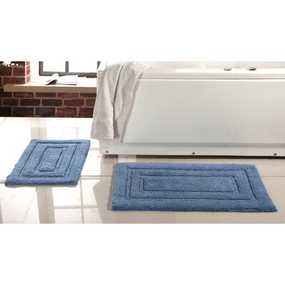 Lucinda 2 Piece Soft Cotton Bath Rug Set Color: Blue