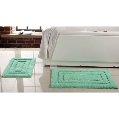 Lucinda 2 Piece Soft Cotton Bath Rug Set Color: Green