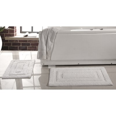 Lucinda 2 Piece Soft Cotton Bath Rug Set Color: White