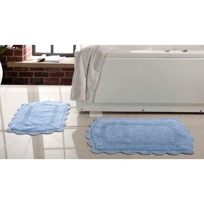 2 Piece Soft Cotton Reversible Bath Rugs Set Color: Aqua Blue