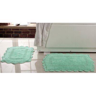 2 Piece Soft Cotton Reversible Bath Rugs Set Color: Green