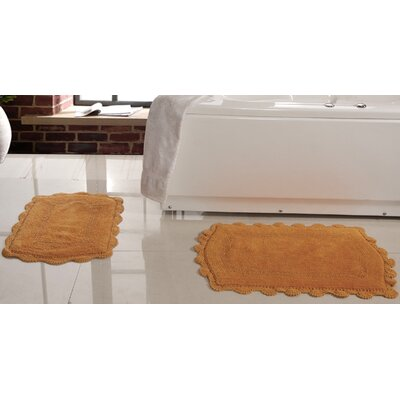 2 Piece Soft Cotton Reversible Bath Rugs Set Color: Gold