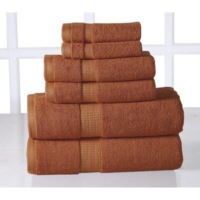 6 Piece Towel Set Color: Rust