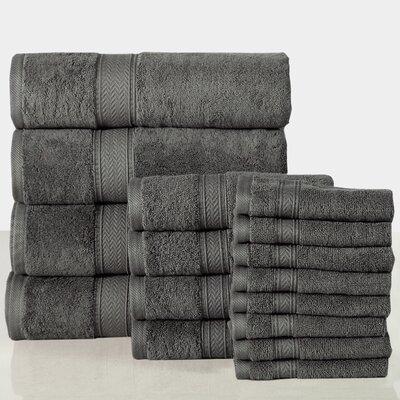 16 Piece Towel Set Color: Grey