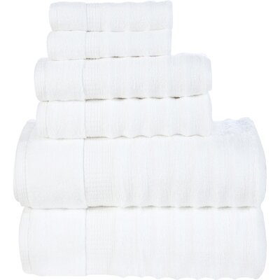 Ribbed 6 Piece Towel Set Color: White