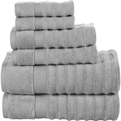 Tracton Ribbed 6 Piece Towel Set Color: Silver