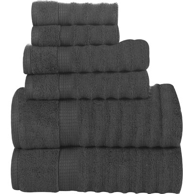 6 Piece Ribbed Cotton Towel Set Color Grey image