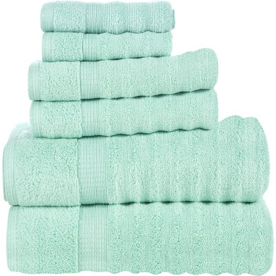 Ribbed 6 Piece Towel Set Color: Aqua