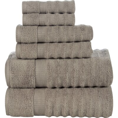 Ribbed 6 Piece Towel Set Color: Taupe