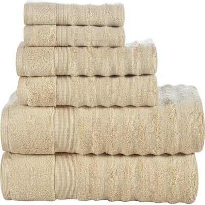 Tracton Ribbed 6 Piece Towel Set Color: Beige
