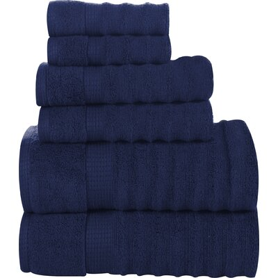 6 Piece Ribbed Cotton Towel Set Color: Denim
