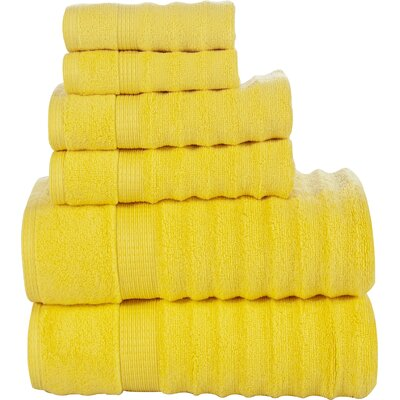Tracton Ribbed 6 Piece Towel Set Color: Yellow